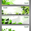 Abstract bright banners with leaves . — Stock Vector