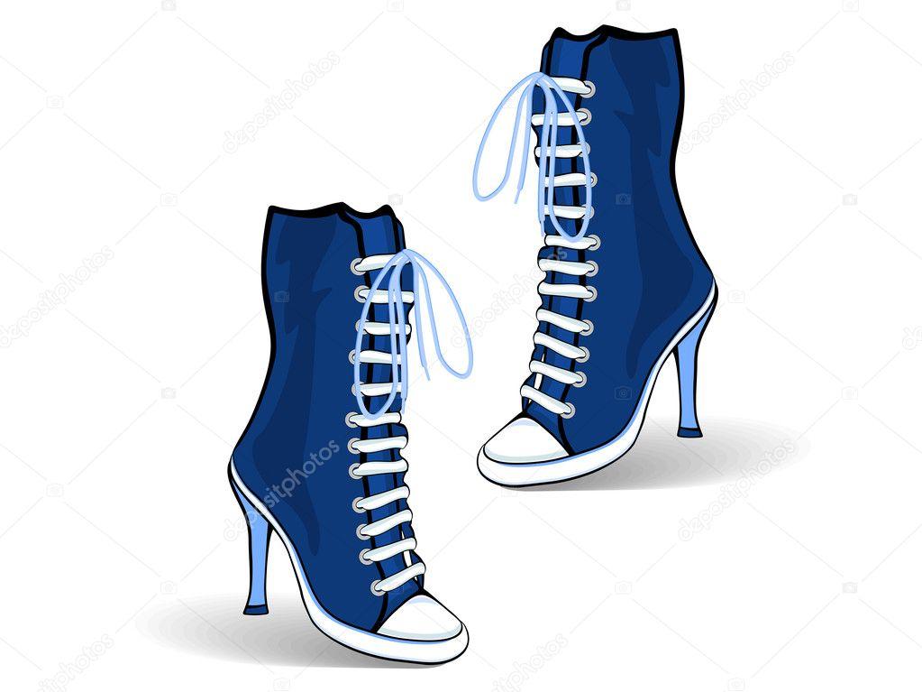 Blue high heel boots. — Stock Vector © alliesinteract #9506031