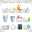 Vector illustration set of web mail icons. - Stock Vector