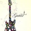 Abstract colorful guitar with florels and notes. vector — Stock Vector #9639688