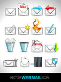 Vector illustration set of web mail icons. — Stock Vector