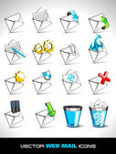 Vector illustration, set of web mail icons. — Stock Vector