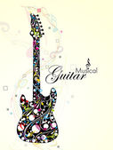 Abstract colorful guitar with florels and notes. vector — Stock Vector