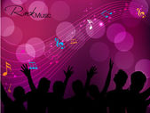 Silhouettes of concert crowd in front of bright stage lights. — Stock Vector