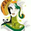 Colorful abstract woman wih green leaf,visit our portfolio for m — Vektorgrafik