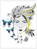Abstract woman with elegant hair style and blue butterflies. — Stock Vector