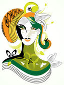 Colorful abstract woman wih green leaf,visit our portfolio for m — Stock Vector