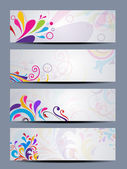 Vector set of beautiful colorful floral headers — Stock Vector