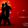 Dancing couple silhouette with hearts on red background. vector. — Stock Vector
