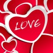 Red love illustration with heart stickers and white outline and — Stock vektor