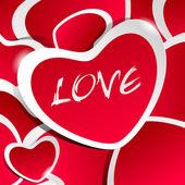 červená láska ilustrace s samolepky srdce a bílý obrys a — Stock vektor