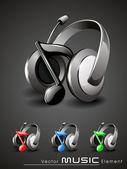 Vector 3d music headphone icon set — Stock Vector
