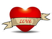 Streszczenie ikona miłość z wstążką. wektor — Wektor stockowy