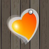 Elegant icon with shape of heart having on wooden wall. vector. — Stock Vector