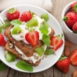 Bread with cottage cheese and berries - Stok fotoğraf