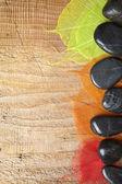 Спа кадр с камнями и листья — Стоковое фото