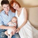 familia feliz en casa — Foto de Stock