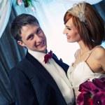 Beautiful couple on their wedding day — Stock Photo