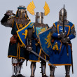 Medieval knight on grey background. — Stok fotoğraf