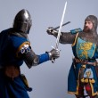 Two medieval knights fighting — Stock Photo