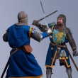 Stock Photo: Two medieval knights fighting