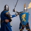Two medieval knights fighting. - Stok fotoraf