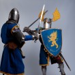 Two medieval knights fighting. — Stock Photo