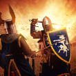 Knights fighting agaist medieval castle. — Stock Photo