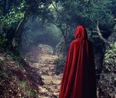 Person wearing red cloak in a forest — Stok fotoğraf