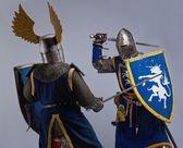 Due cavalieri medievali di combattimento. — Foto Stock
