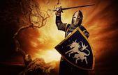 średniowieczny rycerz — Zdjęcie stockowe