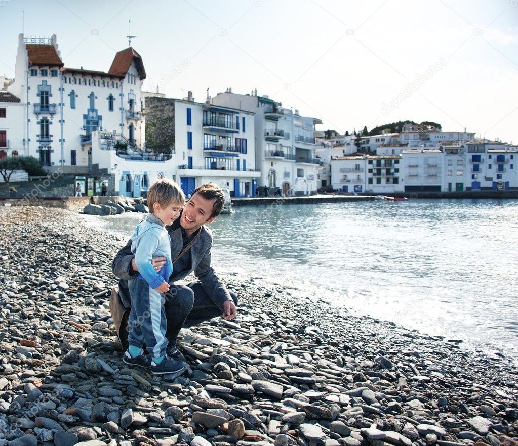 Father and son against Cadaqués view. — Stock Photo #10204335
