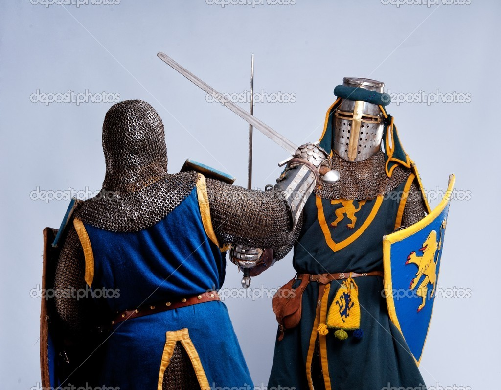 Two medieval knights fighting. — Stock Photo #10204856