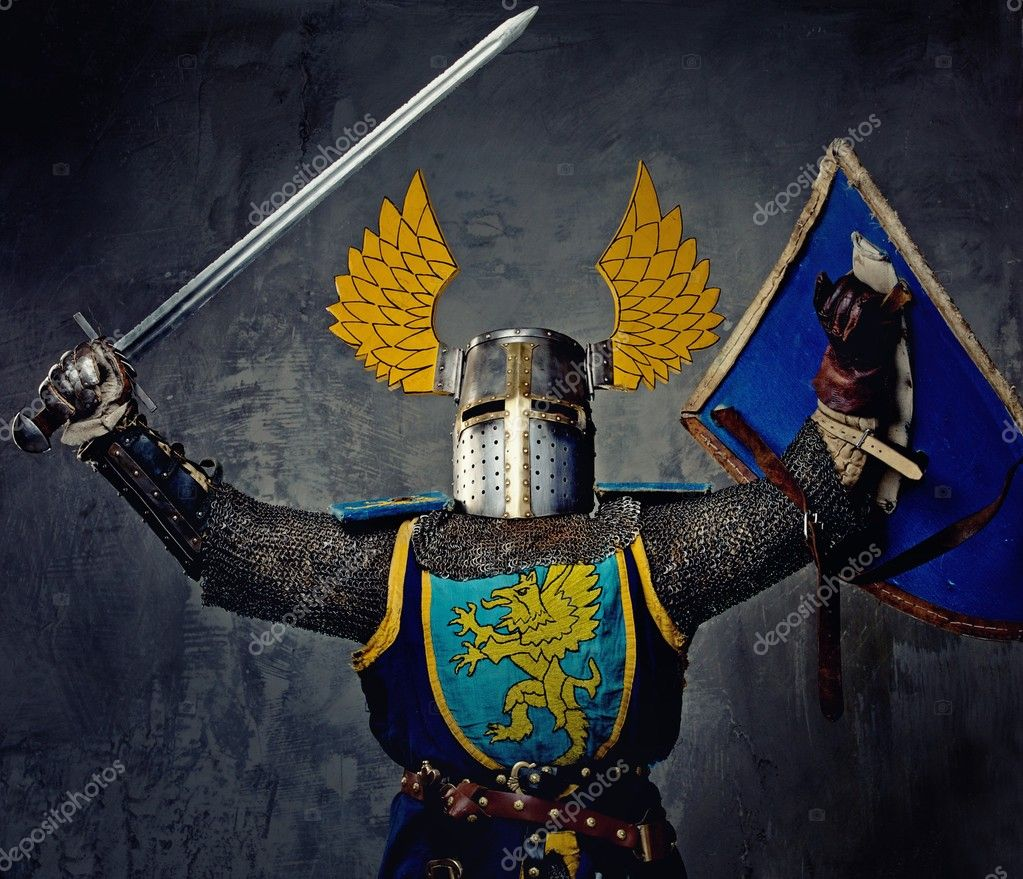 Medieval knight on grey background. — Stock Photo #10204878