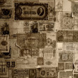 Vintage banknotes wallpaper. - Stock Photo