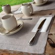 Table setting in cafe. - Stock Photo