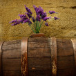 Purple flowers on old barrel. - Stok fotoğraf