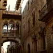 Gothic bridge in Barri Gotic, Barcelona - Stok fotoraf