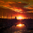 Yachts and boats in evening harbor — Stock Photo #10213605