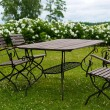 Picnic table on a meadow - Stock Photo