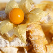 Delicious pancakes with physalis - Stock Photo