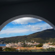 View over a town through window - Stock Photo
