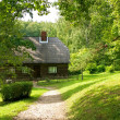 Old wooden house in the forest. - Foto Stock