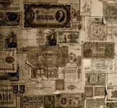 Vintage banknotes wallpaper. — Stock Photo