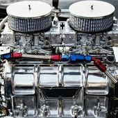 Chrome big block engine. — Stock Photo