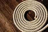 Rope on boat's deck. — Stock Photo