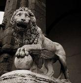Stone lion statue at piazza della Signoria in Florence — Stock Photo