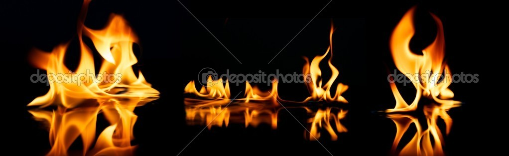 Beautiful stylish fire flames reflected in water — Stock Photo #10213913