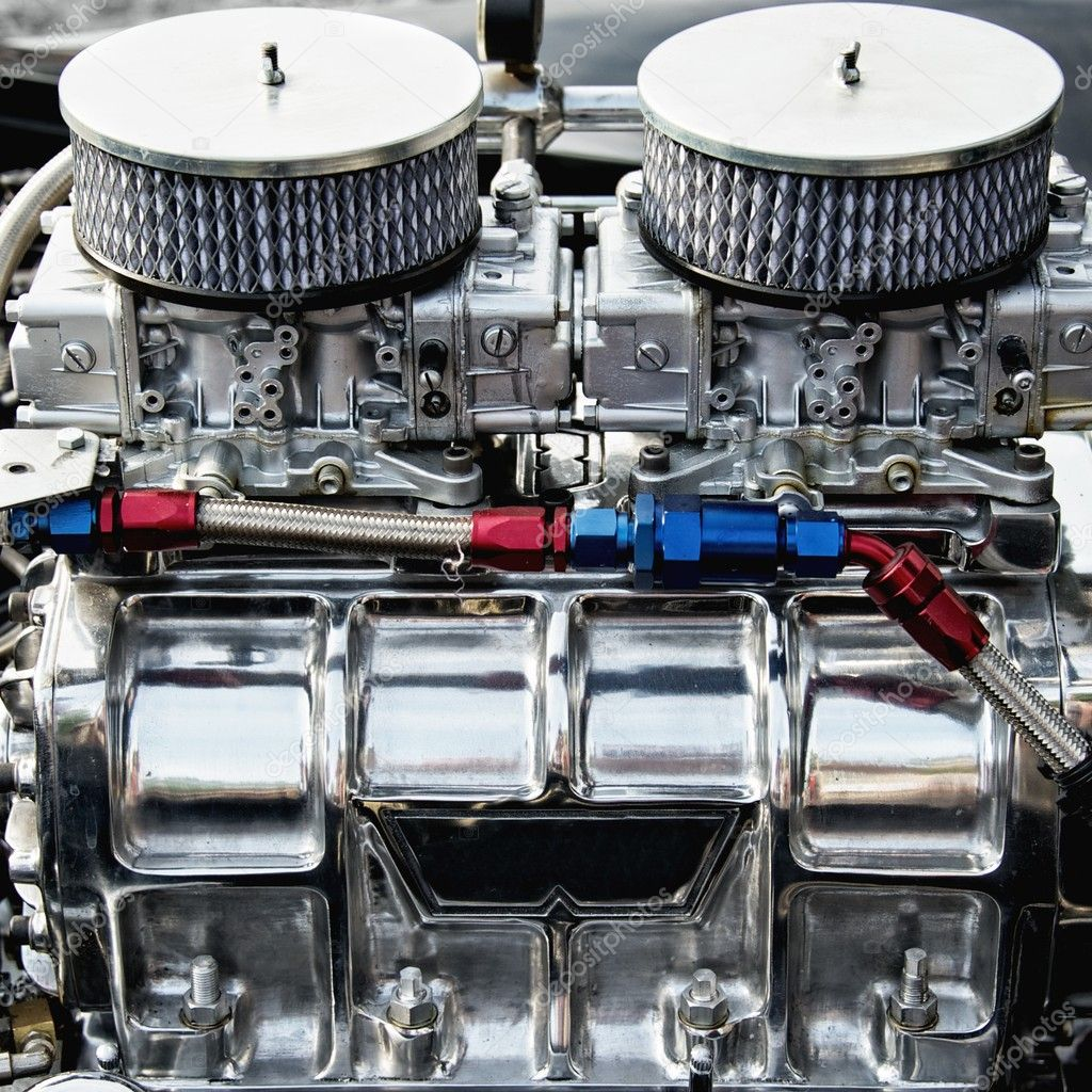 Chrome big block engine. — Stock Photo #10214095