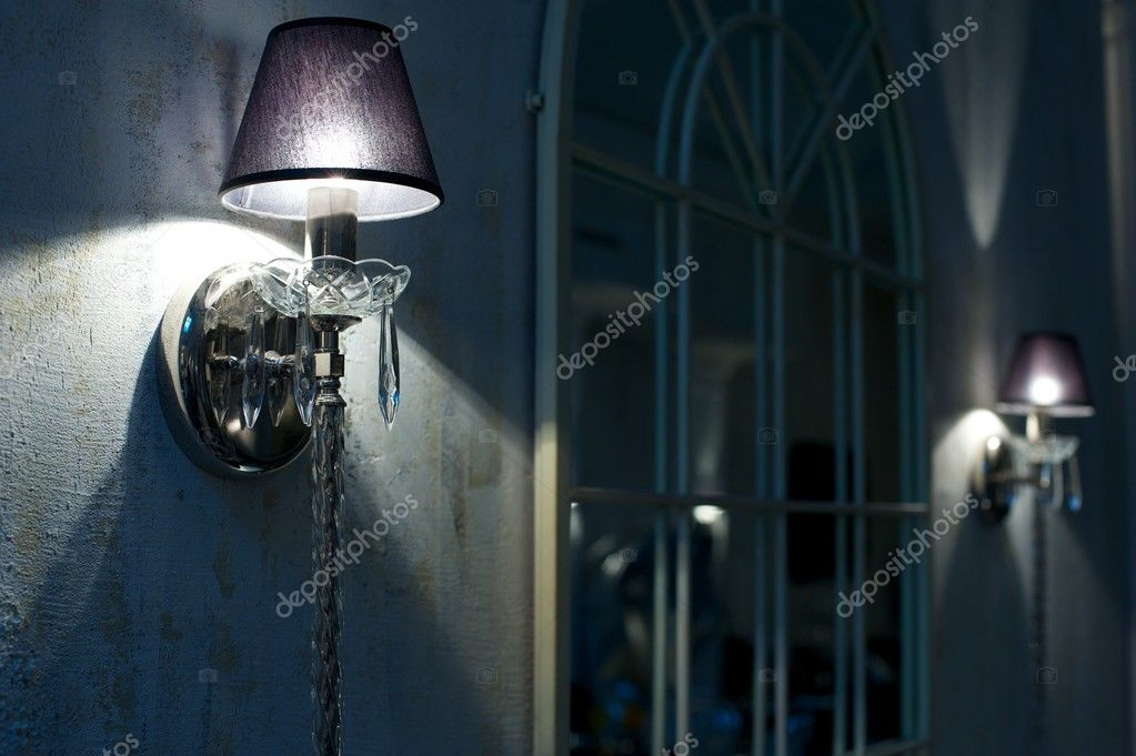 Vintage crystal candelabra on wall. — Foto de Stock   #10214627